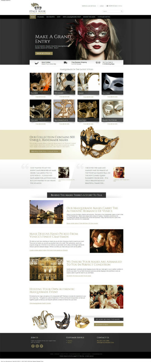 After Italy Masks website redesign by Zeald