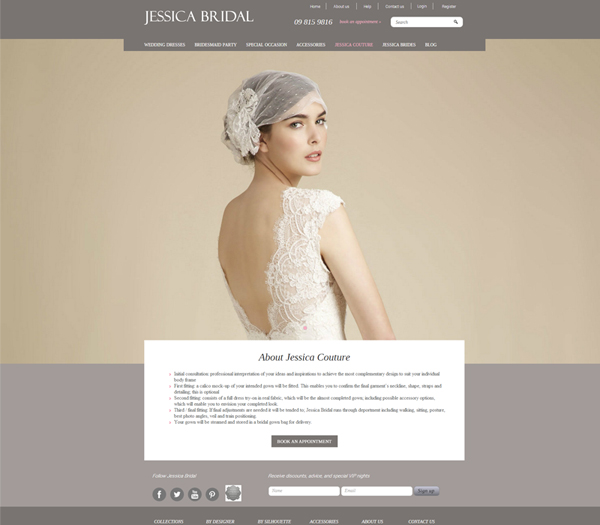 Jessica Bridal website by Zeald