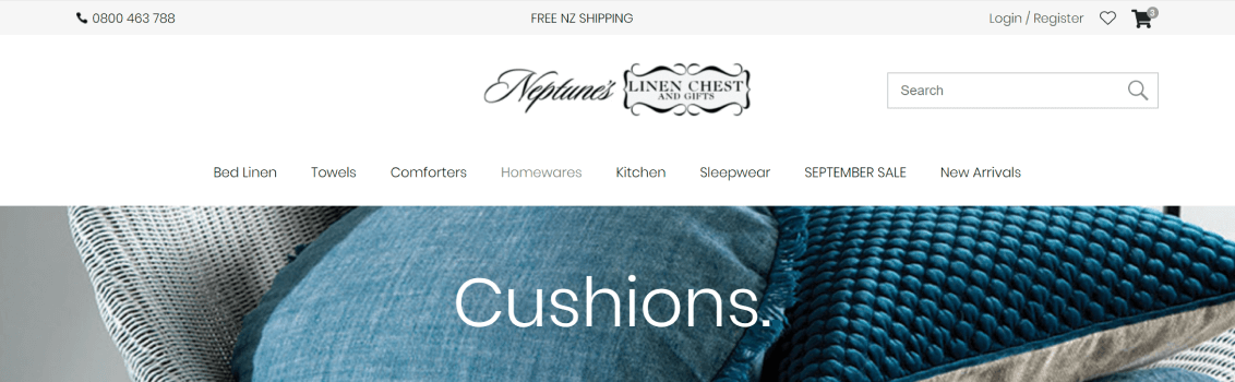Cushions category page with background behind header